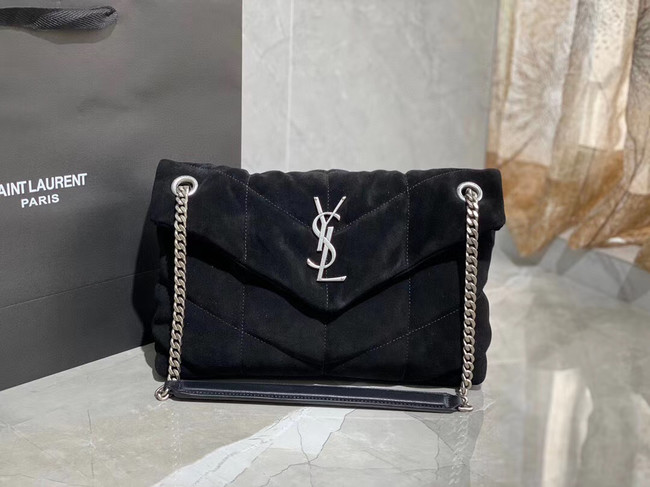 Yves Saint Laurent LOULOU PUFFER SMALL BAG SATCHEL IN SUEDE 74761 Black
