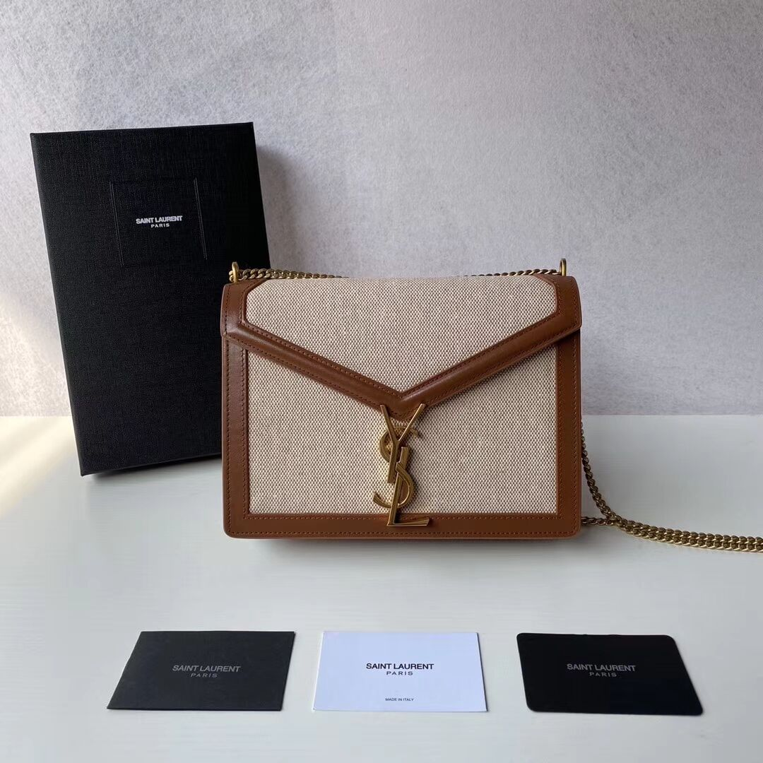 Yves Saint Laurent IN CANVAS AND LEATHER Y650017H Apricot