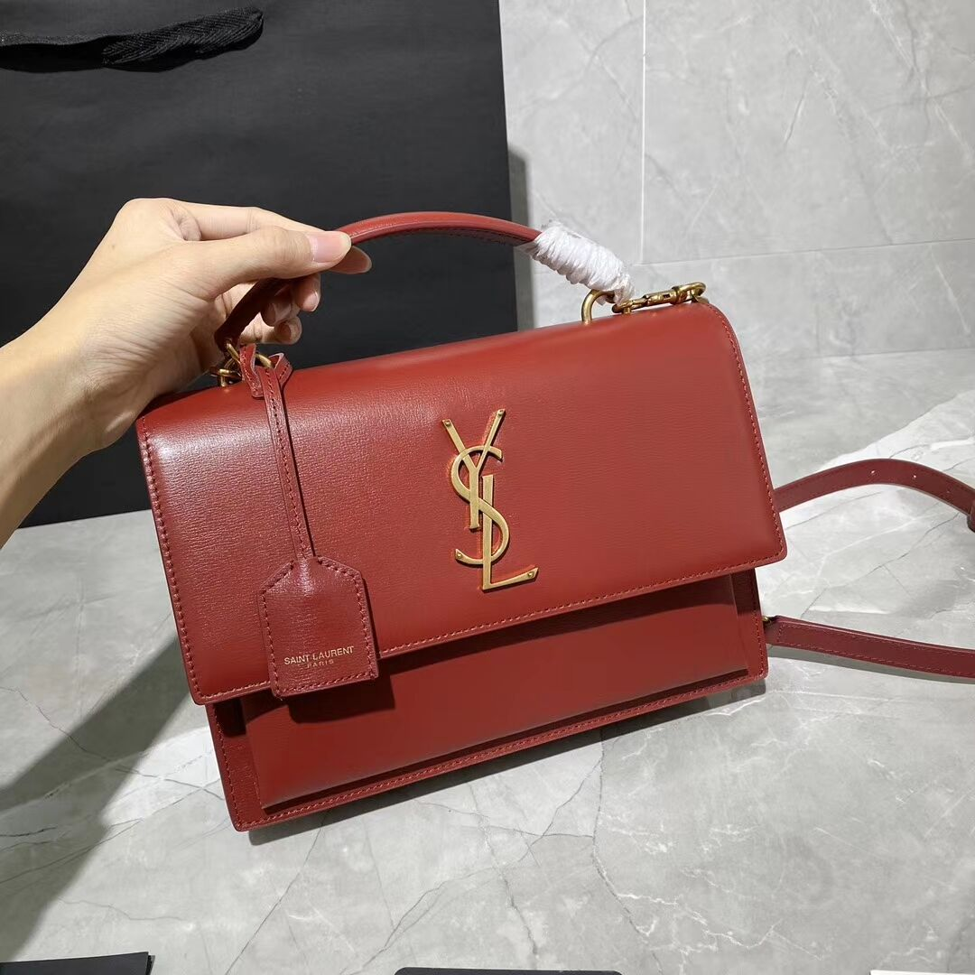 Yves Saint Laurent Calfskin Leather Tote Bag Y634723 red