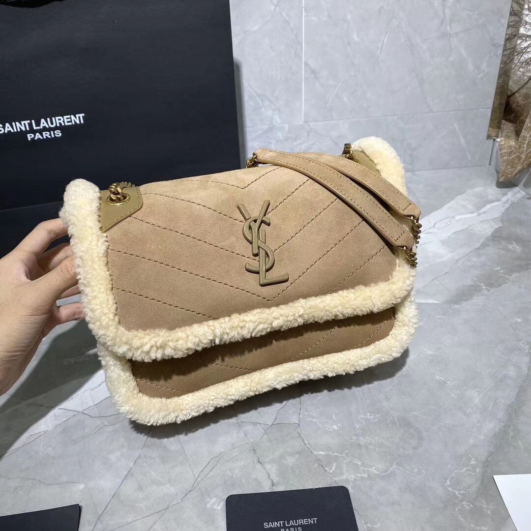 Yves Saint Laurent IN Cashmere AND SMOOTH LEATHER Y533037 brown