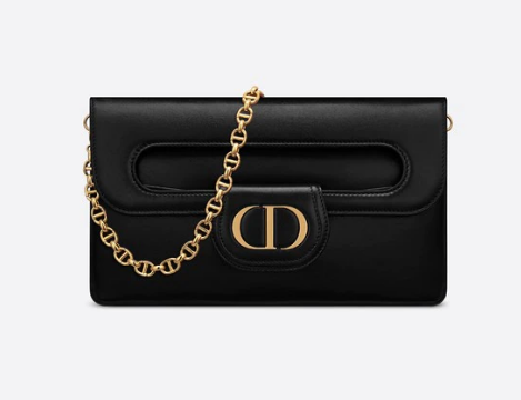 DIOR MEDIUM DIORDOUBLE BAG Black Smooth Calfskin M8641U