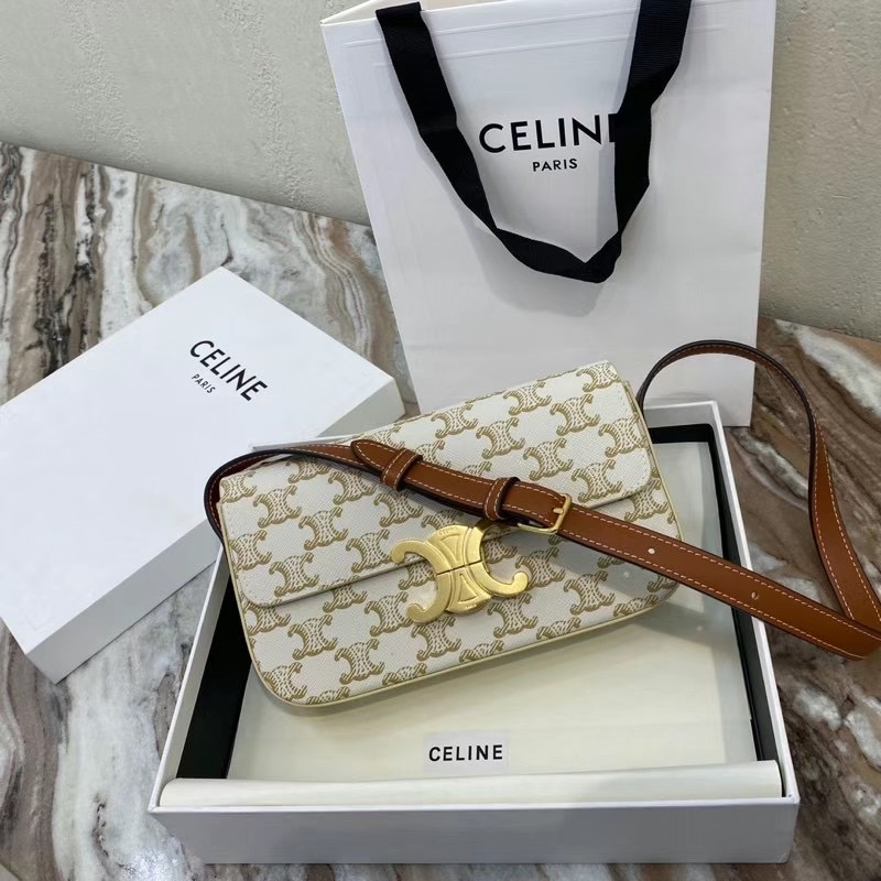 Celine TRIOMPHE SHOULDER BAG IN TRIOMPHE CANVAS AND CALFKSIN 194142 WHITE
